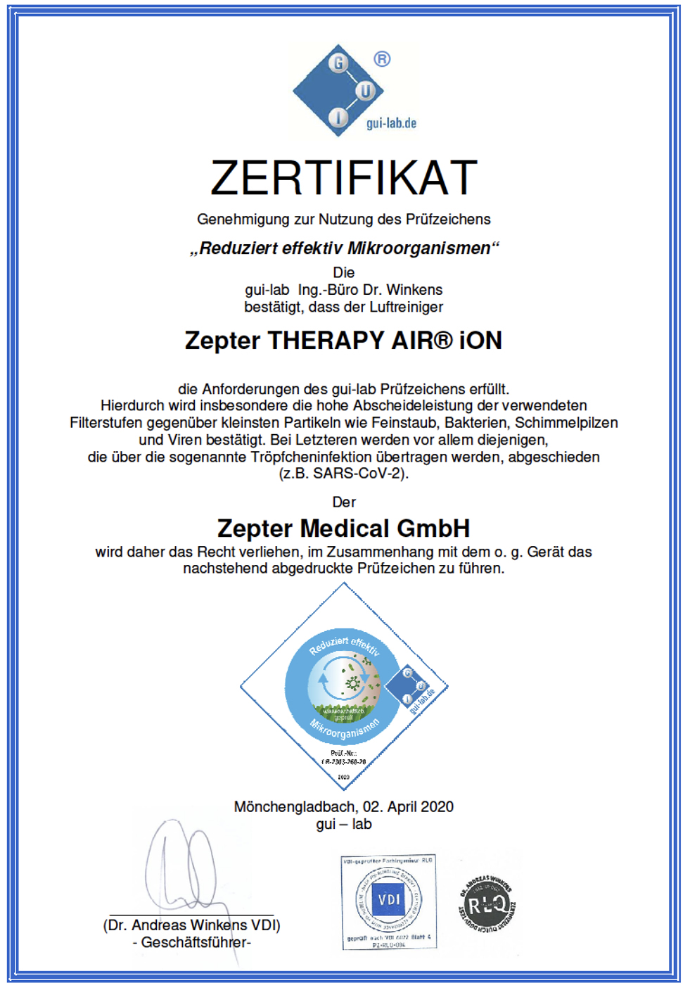 Certificaat Therapy Air luchtreiniger